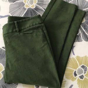 Loft Olive Green Marisa Riviera Style Cropped Pant